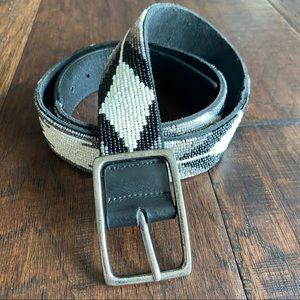 PISTIL Fresca Beaded Leather Belt, Southwestern